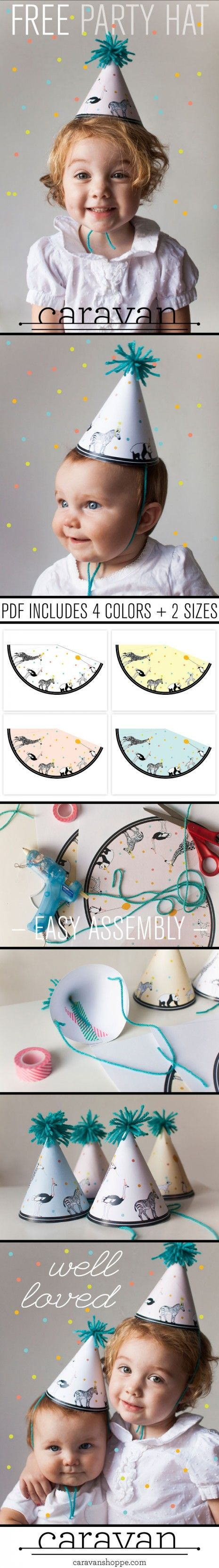 FREE Printable Party Animal hats from caravanshoppe.com // Love these designers! You don't want to miss out!