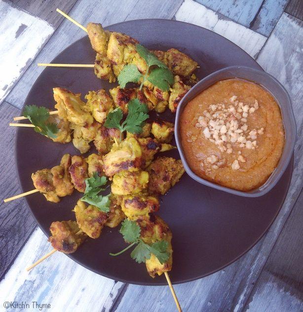 Chicken Satay Skewers with Macadamia Satay Sauce | Kitch'n Thyme