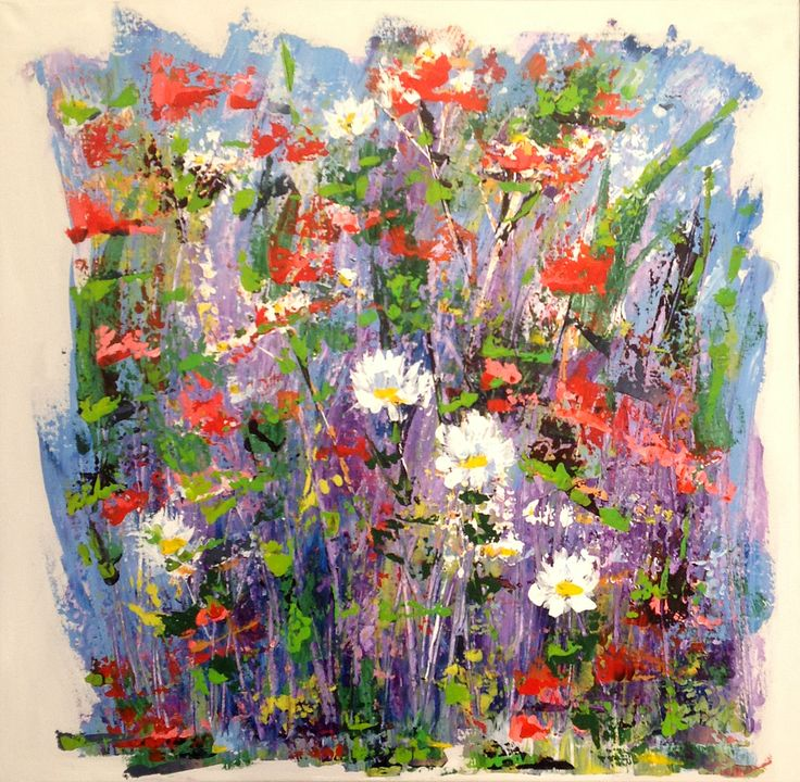 Poppies and Daisies in a border
