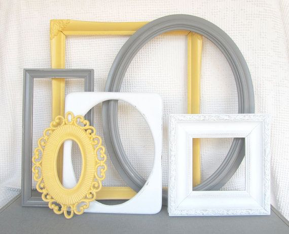 Yellow, Grey White ORNATE Vintage LARGE Open Frames Set of 6 – Upcycled Frames Modern Bedroom Decor Yellow Gray Nursery Bathroom on Etsy, $69.00