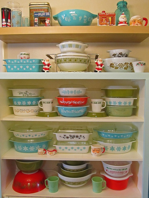 Happy Holidays :) by AquaOwl, via Flickr -Christmas Pyrex display for 2012