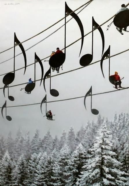 Music note ski lifts in France @Style Space & Stuff Blog Folsom