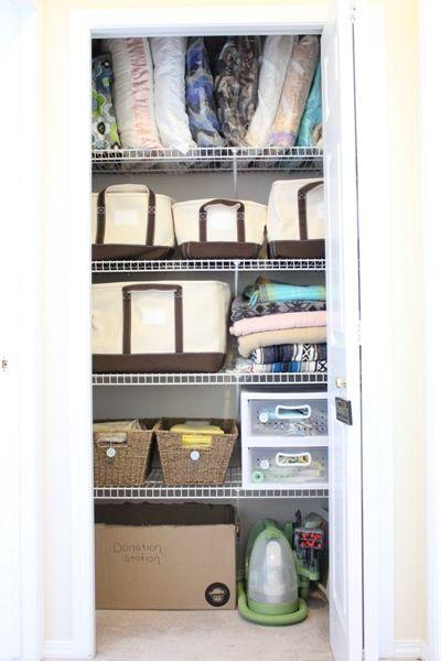 Linen Closet Organization With Landsu0027 End Canvas Storage Totes.