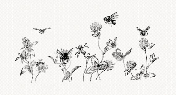 Printable Bees in Flowers Border by luminariumgraphics on Etsy