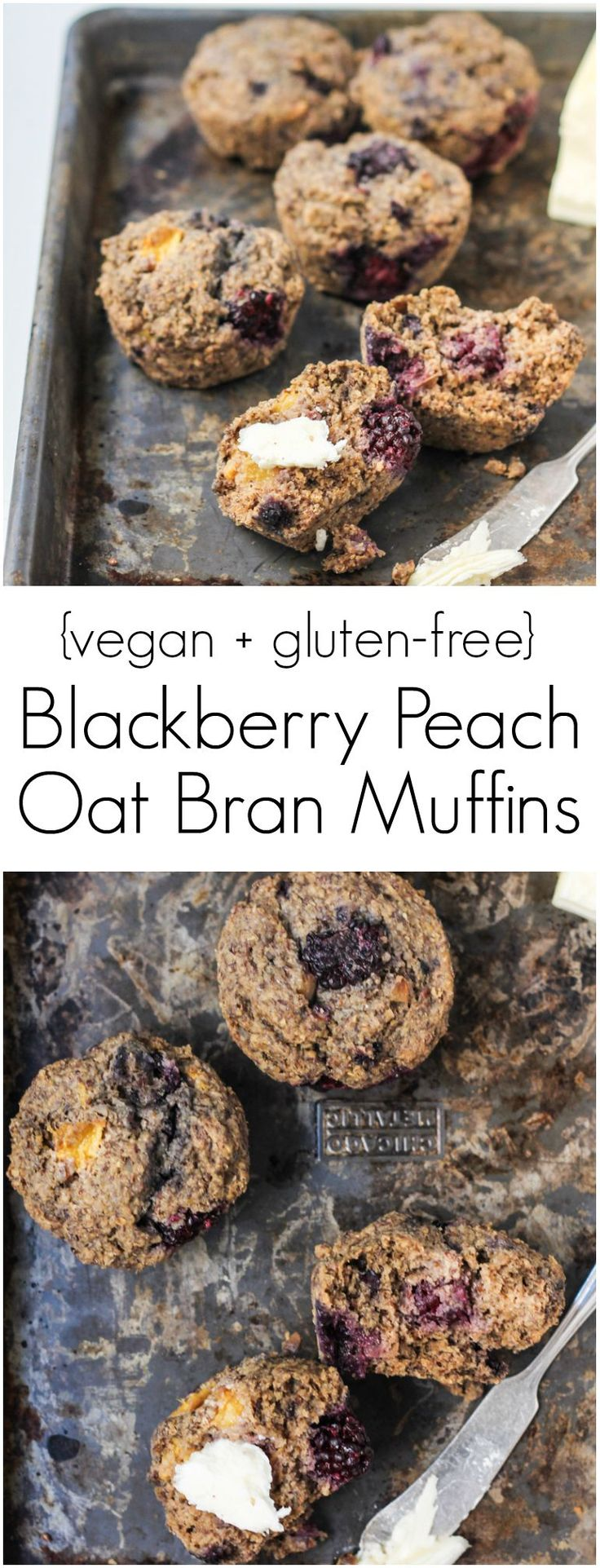 Healthy Breakfast Power Oat Bran muffins loaded with fresh juicy peaches, blackberries and an addicting chai-cinnamon spice. Flax and chia seeds are added to boost nutrition, fiber & protein!