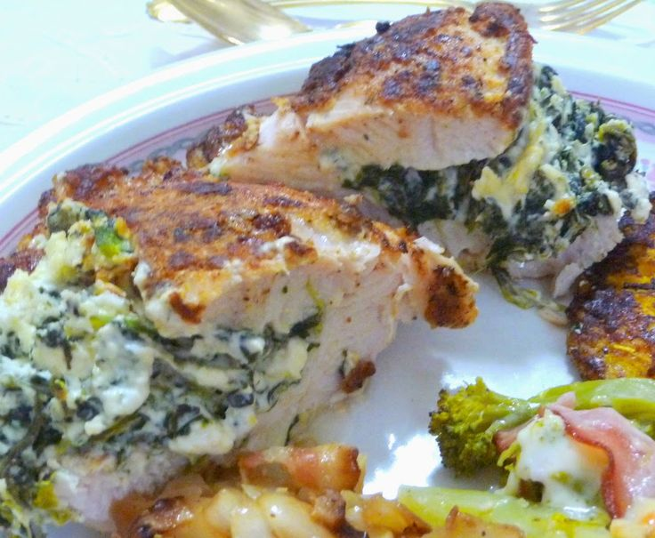 "SPLENDID LOW-CARBING BY JENNIFER ELOFF: ""BREADED"" CHICKEN STUFFED WITH SPINACH, FETA AND CREAM CHEESE - My hubby raved about this chicken! ~ Visit us at: https://www.facebook.com/LowCarbHitParade  for the Best of the Best! and https://www.facebook.com/LowCarbingAmongFriends"