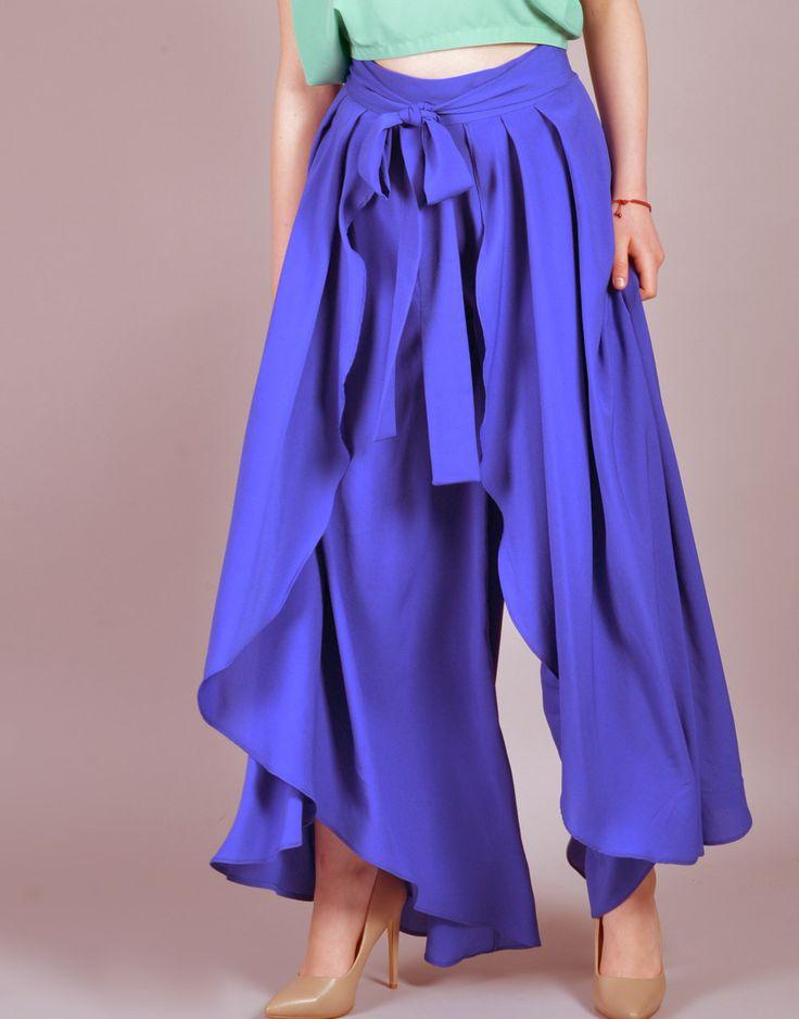Wrap Pants, Blue Pants, Layered Pants, Gypsy Pants, Women Blue Trousers, High Waisted Pants, Fashion Trousers, Formal Pants, Cocktail Pants