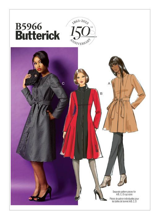 B5966 Fitted and flared, lined jacket or coat has shoulder pads, princess seams, side pockets, two-piece sleeves, fly button-down closure and self-belt. A, B: Stand-up collar and contrast panels. C: Collarless.