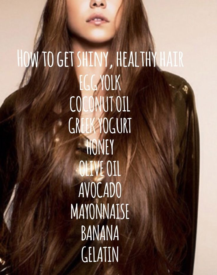 DIY hair mask for shiny, healthy hair! Leave on for 2-4 hours or overnight. Use any ingredients from the list that you have.