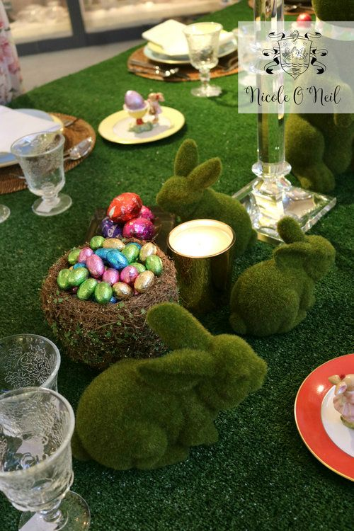 Moss Bunnies and Pastel Coloured Chocolate Easter Eggs - Easter Table Setting Inspiration - How to Decorate An Easter Table