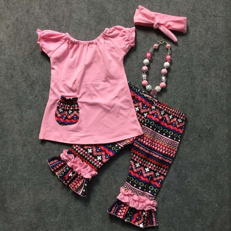 Girls Fashion Spring/Summer design pink short sleeves aztec capris top pink with pocket with accessories