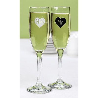 Black And White Heart Flutes Wedding Toasting Gles Toast