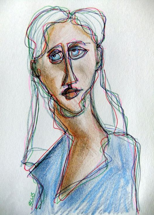 ARTFINDER: Blue Eyes by Steve Clement-Large - ... and white hair. Pencil and ink on paper.
