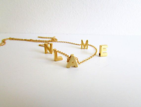 Gold Letter Necklace Initial Necklace Monogram by EfZinCreations, $17.00