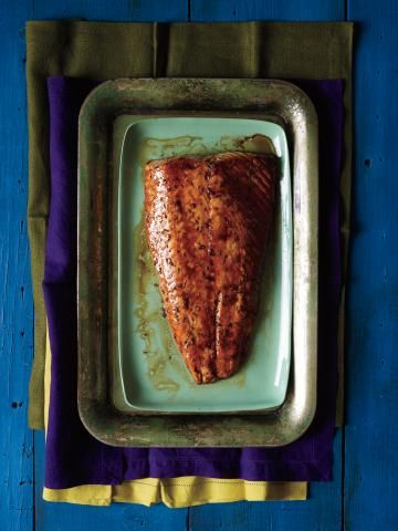 Cedar-Plank Salmon  This seafood main is impressive, yet low-effort—the cedar board (available at gourmet food stores) does most of the work for you! Coat a quality cut of salmon with a simple rub of brown sugar, thyme, and cayenne before grilling. The result is a slightly smoky, perfectly flaky fish dinner. Nobody will miss the burgers and dogs.