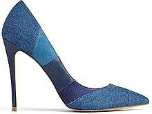 женские туфли-лодочки, высокий тонкий каблук, острый мыс, сине-сиреневые полоски