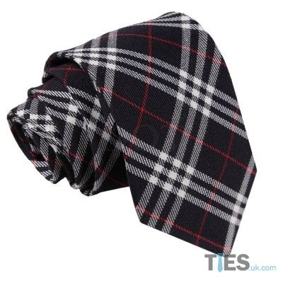 Men's Navy&White With Red Tartan Tie by www.ties.uk.com/ for £7.99
