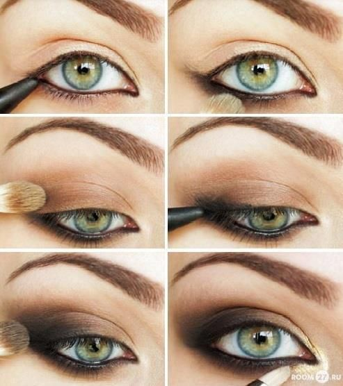 steps to applying your eyeliner and eye shadow for a pretty smokey look on top and bottom.