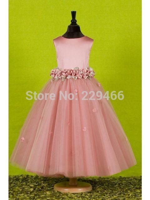 Grátis frete longo rosa vestidos menina com arco de volta as crianças vestido para meninas rústico Flower Girl Dresses