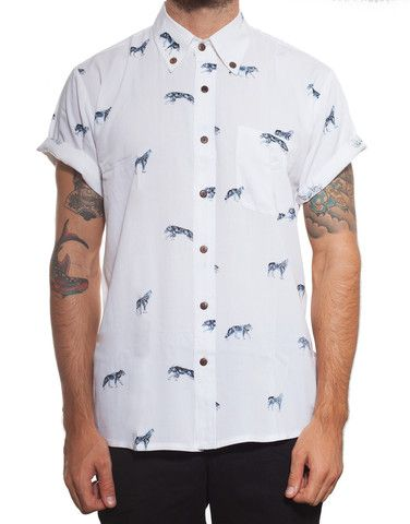 Handsome Me Wolf Button-Up Shirt - PASAR FASHION ONLINE