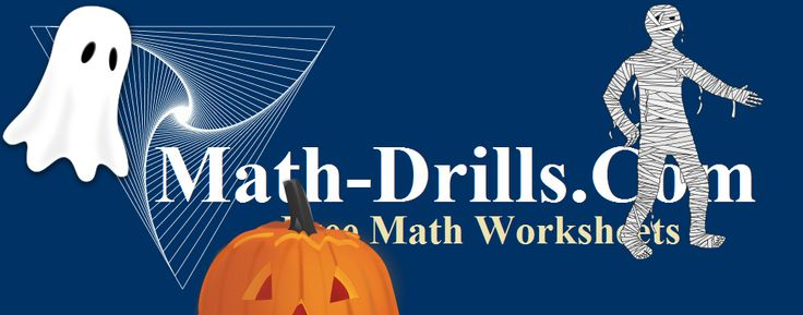 Halloween math worksheets including operations, geometry, measurement, graph paper, and patterning at Math-Drills.com.