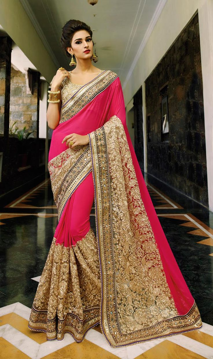Pink Faux Georgette Party Wear Saree 58122