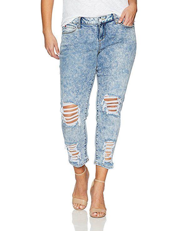 SLINK Jeans Women s Plus Size Amelia Destroyed Boyfriend Jean ... ecaa2a85b3
