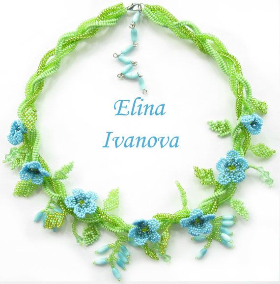 Beaded flower necklace forget-me-not, exclusive handmade bib necklace, fashion 2014, blue, green, nature style jewelry, gift for her, rustic