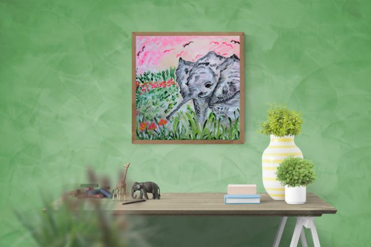 Buy Playful baby elephant, Acrylic painting by Silvie Tripes on Artfinder. Discover thousands of other original paintings, prints, sculptures and photography from independent artists.