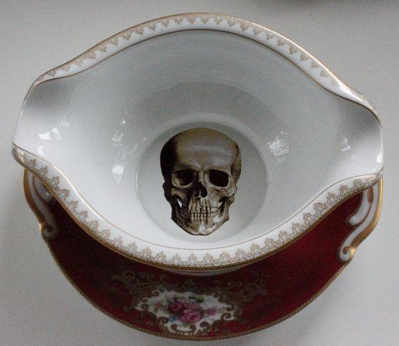 Gorgeous Red and Gold Skull Gravy Boat CUSTOMIZABLE Skeleton