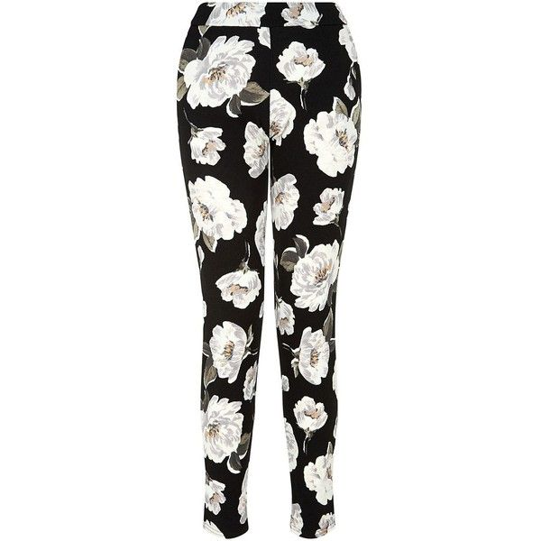 Cameo Rose Black Floral Print Trouser ($28) ❤ liked on Polyvore featuring pants, elastic waistband pants, floral trousers, elastic waist pants, stretch waist pants and black floral pants