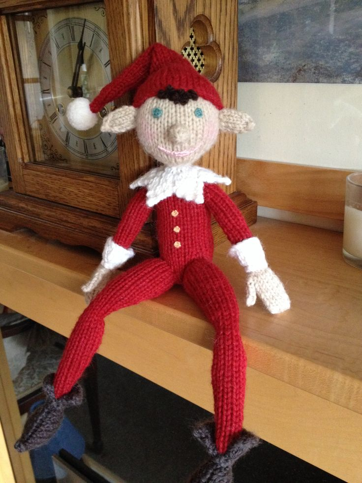 Knitted Elf Pattern : This is my Elf on the Shelf He is knitted from an Alan Dart pattern...