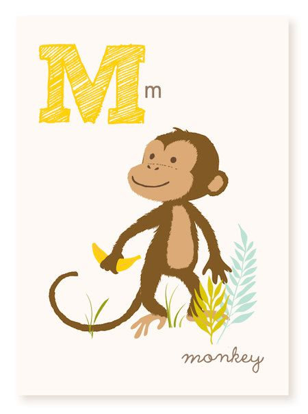 M is for Monkey  5x7 art print by SeaUrchinStudio on Etsy, $4.50