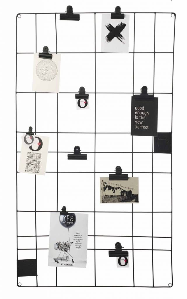 Je kattenbelletjes of notities ophangen wordt helemaal stijlvol met dit hippe memobord! Ook wenskaarten met kerst, of andere kaartjes krijgen een leuke plaats. Of gebruik het eens ipv een kader voor een mooie poster of prent in combinatie met clips. Ideeë