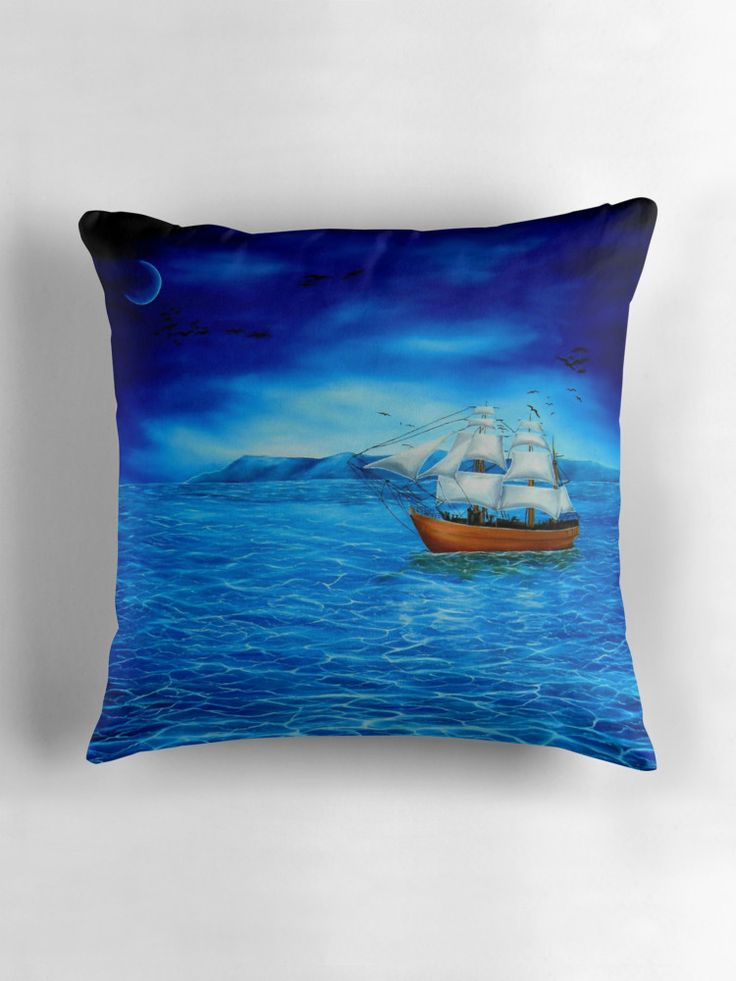 Throw Pillow,  home,accessories,sofa,couch,decor,cool,beautiful,fancy,unique,trendy,artistic,awesome,fahionable,unusual,gifts,presents,for,sale,design,ideas,blue,nautical,sailboat,sea,marine,redbubble