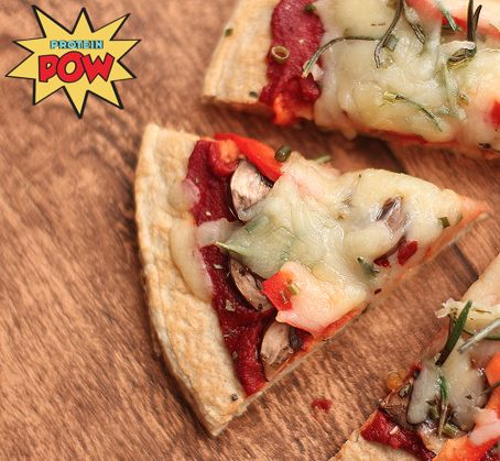 Four Ingredient Protein Pizza Crust - http://proteinpow.com/2014/08/four-ingredient-protein-pizza-crust.html