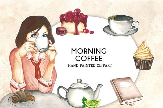Morning Coffee Clipart  Watercolor Hand painted by CutePaperStudio
