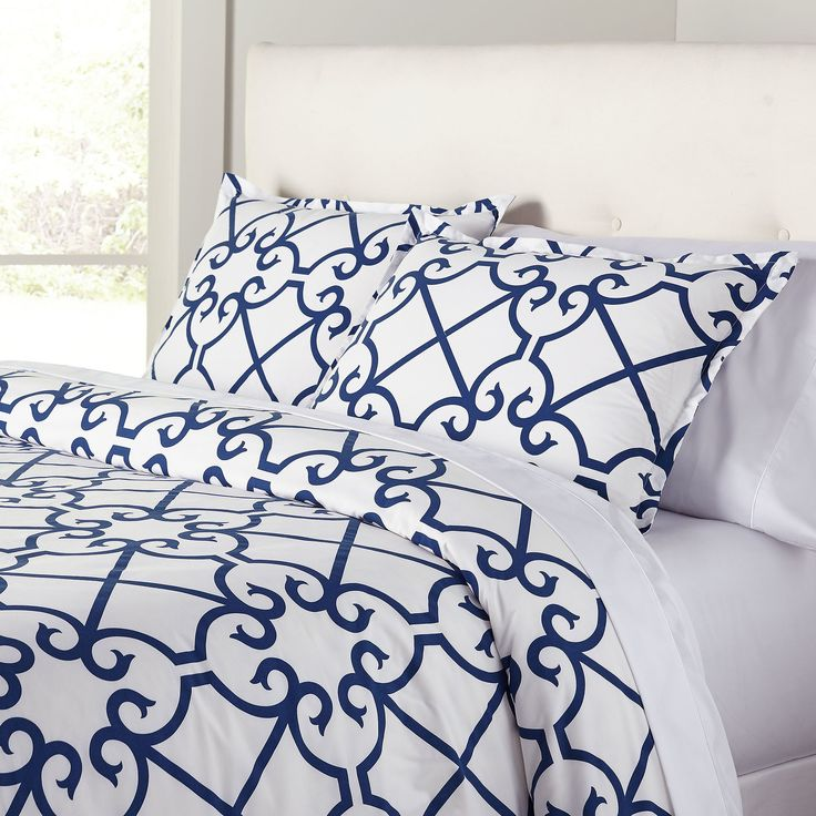 Selena Navy Duvet Set | An airy, stylized trellis pattern gives this 200-thread count set a classic look with just a hint of romance. Set includes duvet and two shams.