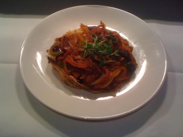 Spanish Omelette - chorizo, capsicum,olives, onion & tomato
