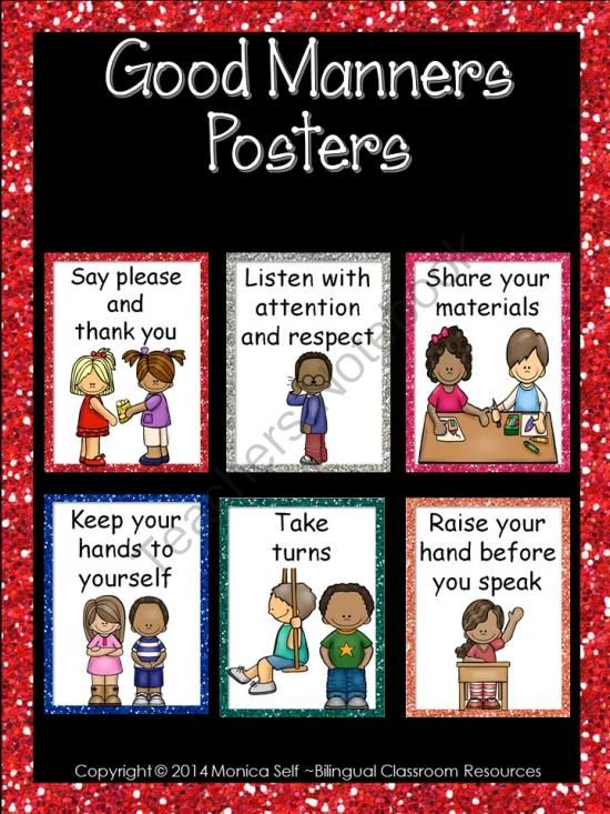 Good Manners Posters from Bilingual Resources on TeachersNotebook.com -  (23 pages)  - Remind your students to use their good manners by displaying these cute posters.   The posters included are:  1. Say please and thank you.  2. Be kind to your friends and animals.  3. Keep your hands to yourself.  4. Share your materials.  5. Take turns.