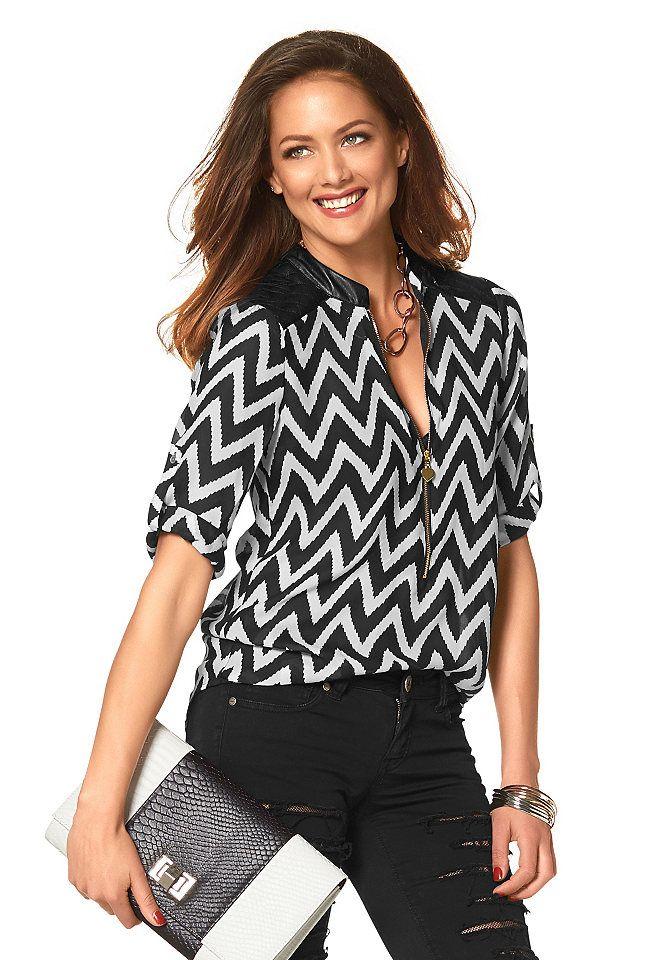 Melrose Chiffonbluse mit Zipper-Ausschnitt