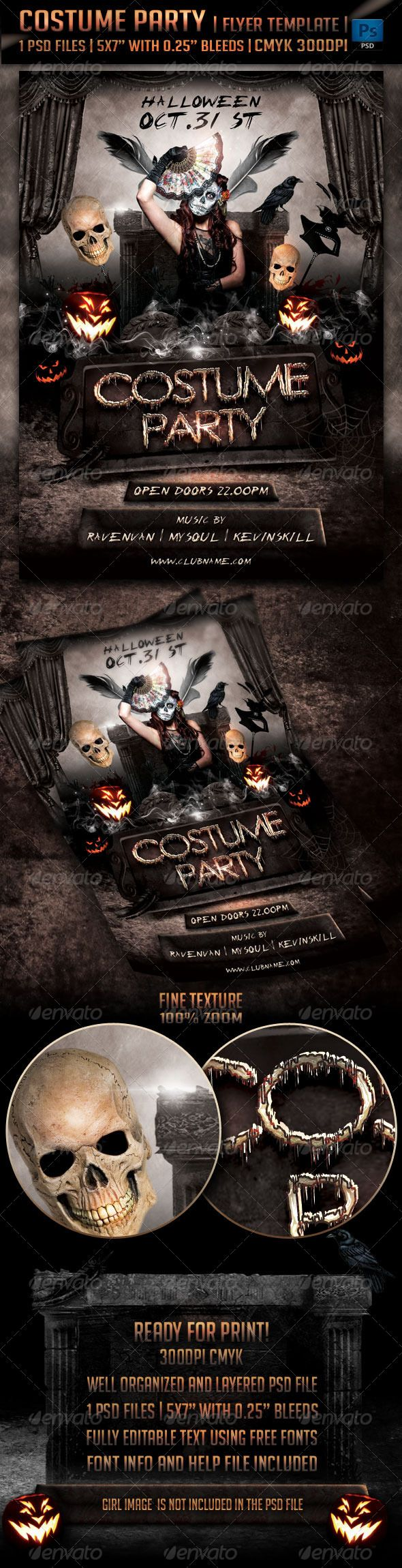 Costume Party Flyer Template  Flyer Template Flyers And Blood