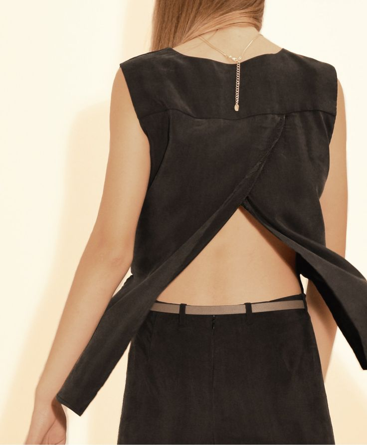 Black Jumpsuit with wrap front and Dramatic Cape effect. Made of 100%cupro. #stylatifashion #jumpsuits #trends #2016 #fashion #style