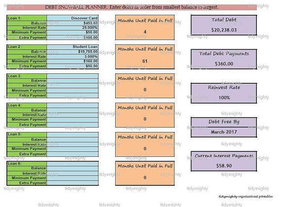 Debt Payment Planner / Tracker - Customizable Excel (INSTANT DOWNLOAD)