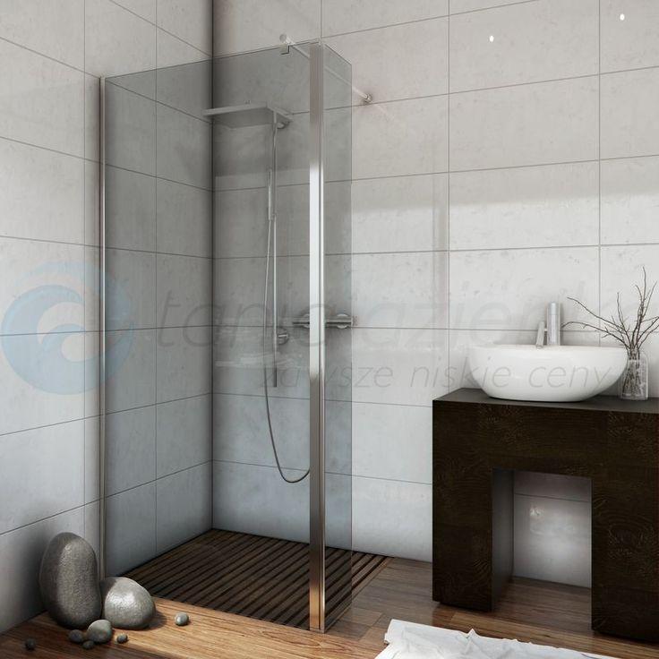Ścianka prysznicowa narożna szkło grafit WALK  IN FIX 100 cm