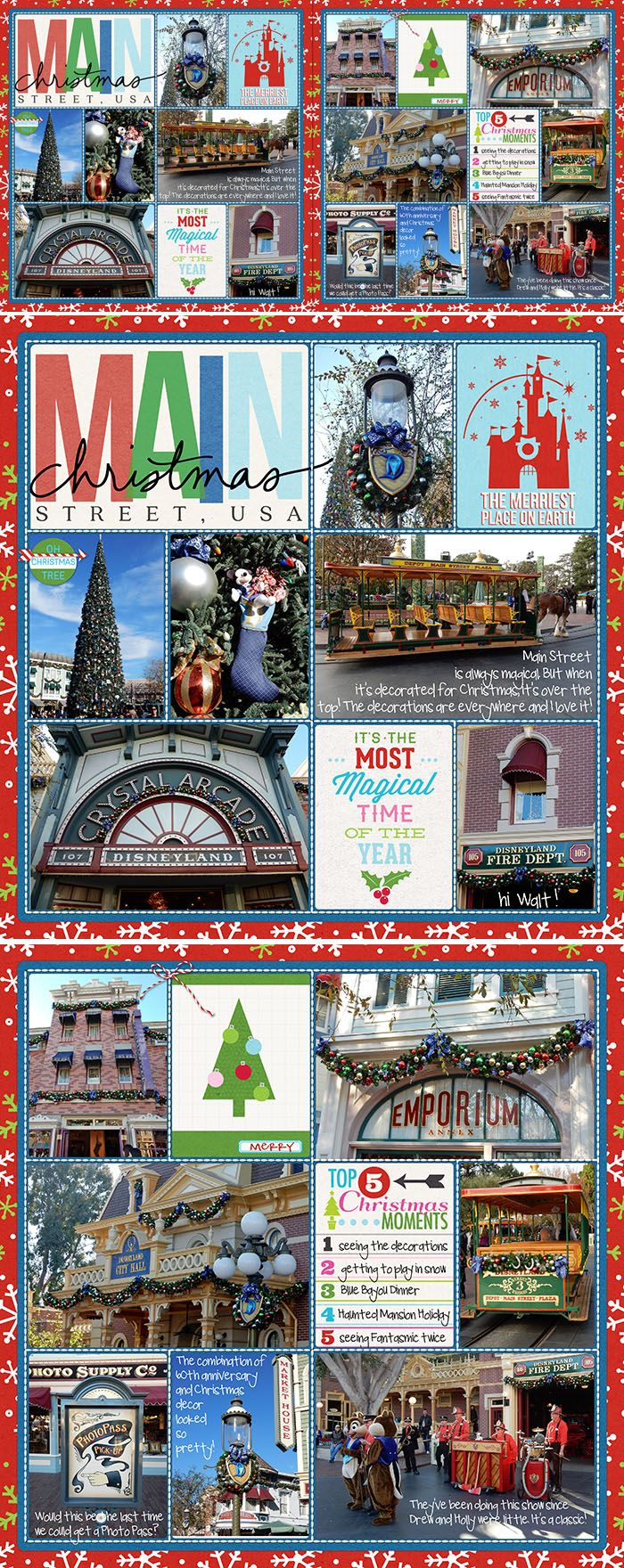 Main Street Christmas Disney pocket scrapbook layout. Project Mouse Main St and Christmas kits.