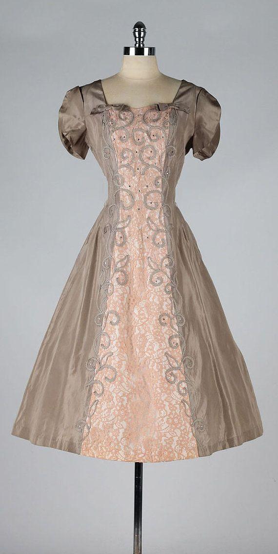vintage 1950s dress . pink lace . rhinestone by millstreetvintage