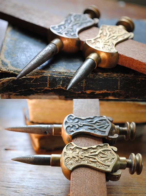 Antique Trammel Points Ornate Brass Stanley Tool by oddsandthreads, $98.00