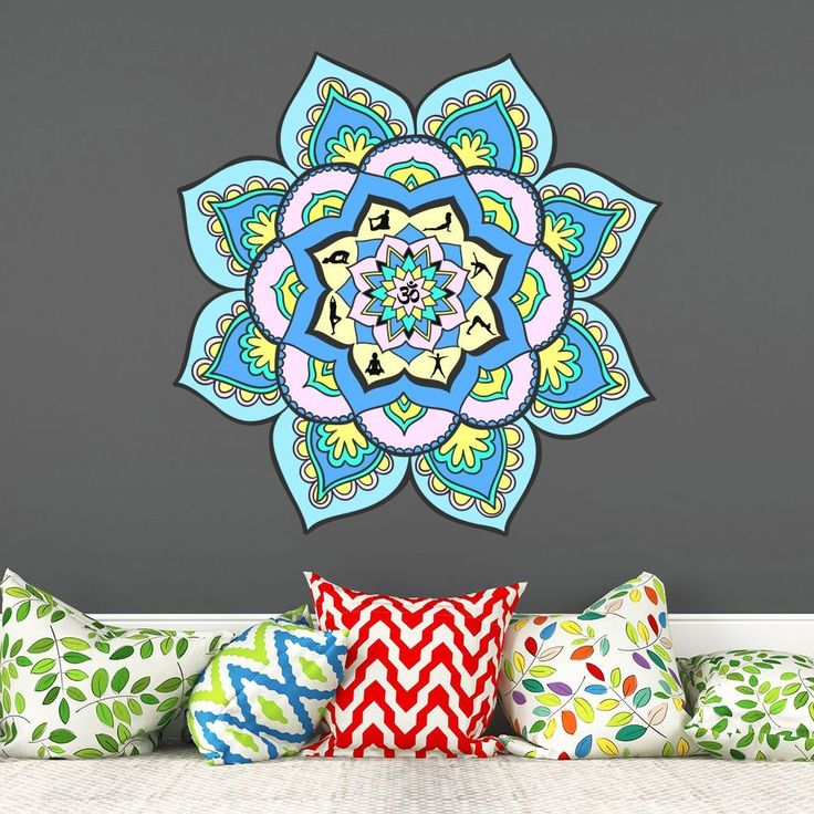 10 best mandala full color multicolored vinyl stickers on wall stickers for home id=64079
