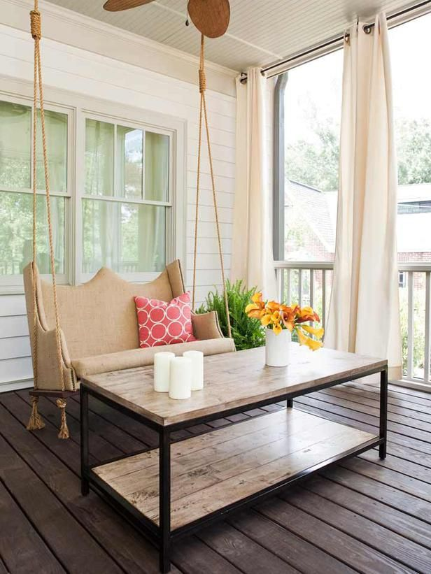 Porch swing and table http://www.hgtv.com/designers-portfolio/room/transitional/dining-rooms/6055/index.html#/id-9917/room-outdoors?soc=pinterest